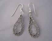 Vintage Silver Lacy Teardrop Earrings