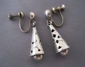 Vintage Alpaca Silver Gingko Leaf Cutout Earrings