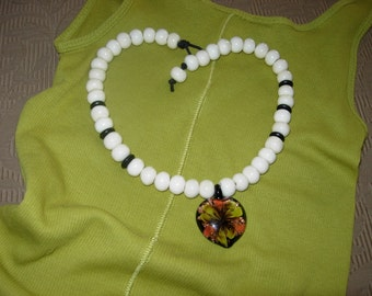 African Black Horn and Bone Beads with Glass Pendant