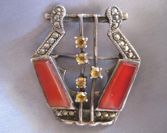 SALE:  Vintage Art Deco Carnelian and Marcasite Sterling Pin