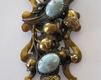 Vintage Art Nouveau Acorn Clip Brooch