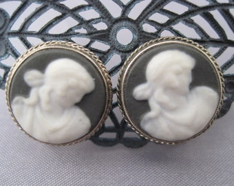 Vintage Gray Wedgewood Cameo Earrings