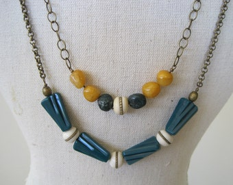 SALE:  Brass Inlaid Bone and Vintage German Lucite Necklace