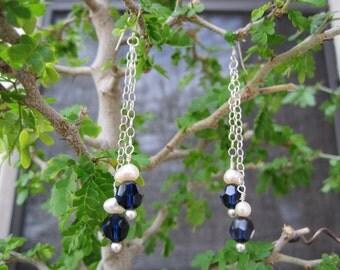 SALE:  Sterling Blue Swarovski Crystal Pearl Dangling Earrings