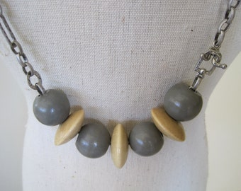Gray and Blond Vintage Wood Bead Necklace