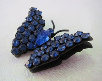 Vintage Gunmetal Blue Rhinestone Butterfly Brooch