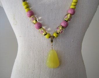 Lemon Cabochon Quartz and Lamp Bead Necklace