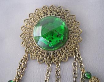 SALE - Vintage Art Deco Brass Filigree Green Stone Brooch