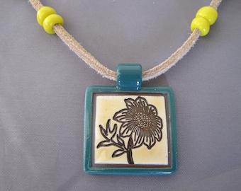 SALE:  Teal Porcelain Sunflower Pendant Necklace