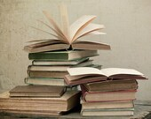 """Vintage Books - Dreamy and Vintage Inspired  - Neutrals Shades - Home Decor - Fine Art Photography - """"Bibliophile"""""""