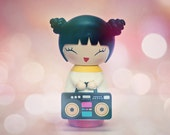 """Party Girl Photo - Dreamy Asian Girl and Boombox - Surreal Photo - Home Decor - Baby Nursery - Kids Room -Fine Art Photograph - """"Super Bass"""""""