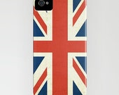British Flag CellPhone Case - Jubilee - British - Iphone 4, 4s Case - UK Flag - Union Jack - Slightly Distressed - Cell phone Cases