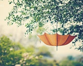 "Umbrella Photograph - Orange Whimsical- Dreamy - Home Decor  - Shabby Cottage Decor - Baby Nursery - Fine Art Photograph - ""Orange Umbrella"""