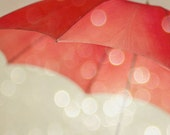 "Vintage Umbrella, Red and Cream, Kid's Decor, Magical Enchanting, Baby Nursery, Fine Art Photography, Red, Love  - ""Whisked Away"""