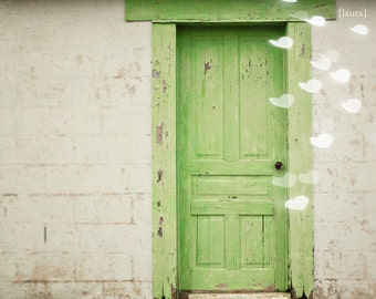 "Green Door Photograph - Vintage Inspired and Dreamy - Home Decor -Fine Art Photograph - ""Forgotten Dreams"""