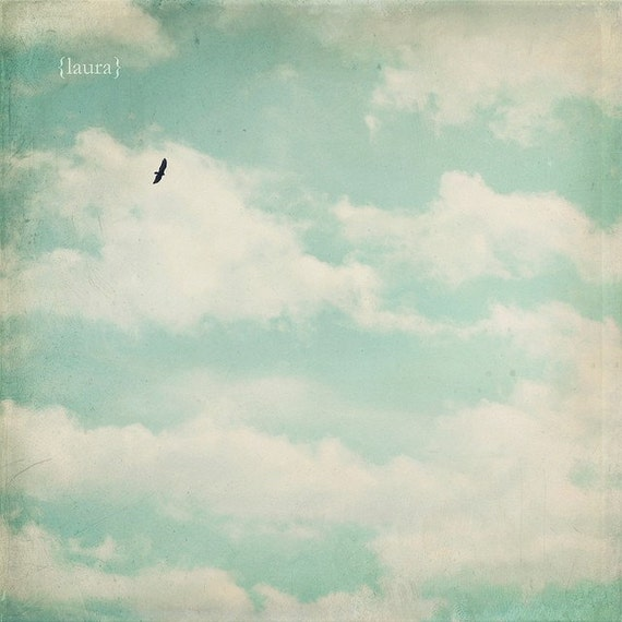 Cloud Photography - Bird Flying in Sky - Home Deocr - Affordable Decor - Baby Nursery - Laura Ruth Fine Art Photography - 5x5 or 5x7