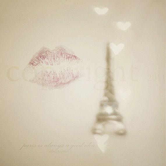 """SALE 50% OFF - Paris Photograph - Typography Quote Art  - Home Decor - Fine Art Photograph 5X5  - """"Paris is always a good idea"""""""