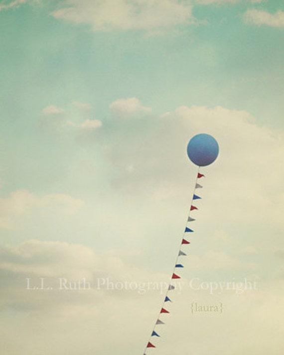 Blue Balloon - Baby Boy Nursery - Home Decor - (Cobalt blue, aqua) - Vintage Processed - Dreamy - Fine Art Photograph 8x10