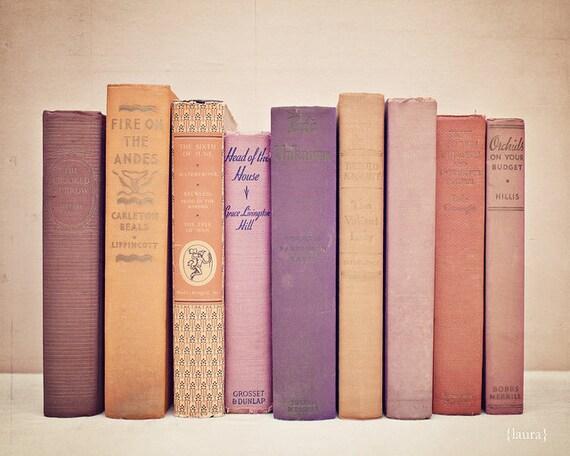 "Book Photography - First Editions - Home Decor - Baby Nursery - Shabby Cottage Decor - Fine Art Photograph - ""Literary Gems II"""