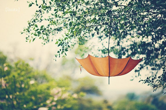 "Umbrella Photograph - Orange Whimsical- Dreamy - Home Decor  - Shabby Cottage Decor - Baby Nursery - Fine Art Photograph - ""Orange Umbrella"""