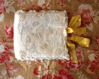 SALE Antique Hand embroidered French  HANKYCASE with BUTTERFLY  yellow silk Ribbon