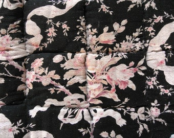 SALE French Antique QUILT boutis BLACK roses & bows  Chic Paris Style