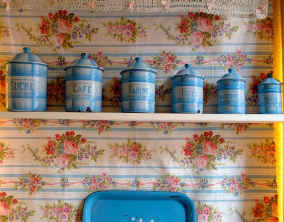Wonderful and rare FRENCH KITCHEN  canisters in light BLUE
