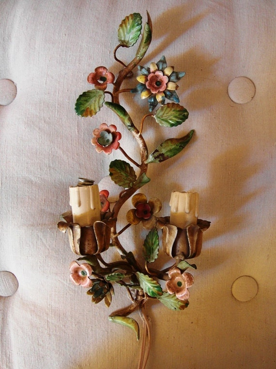 RESERVED FOR LOLA Vintage Italian wall Applique with tole flowers shabby/chic/style