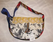 Primary Colors Toile Purse, Red, Blue and Yellow with Black and White - One of a Kind, Handmade, Vintage Fabrics