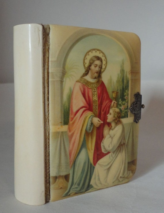 Vintage Childs Prayer Book early 1900s German Made in Austria Celluloid Cover - 1st Communion Bride Gift