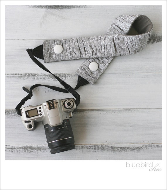 ruched camera strap cover - lacey gray/custom color button