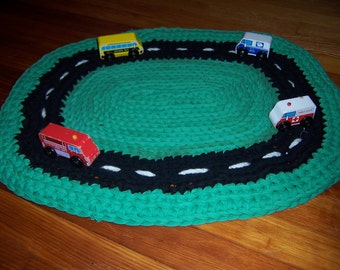 Car Rug - Upcycled Area Rug for Play and Decoration- Made to Order
