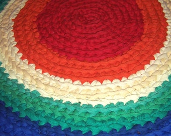 Rainbow Rug- Skittles Upcycled Area Rug