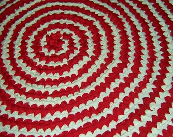 Upcycled Candy Cane Area Rug-  22 inches Ready to Ship