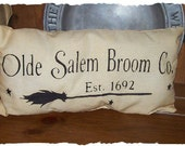 Olde Salem Broom Co. 1692 Autumn Fall Country Primitive Halloween Pillow Cupboard Tuck Sitter