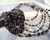 Garnet Pearls Black Lace Special Occasion Necklace