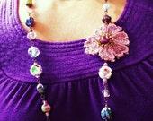 Singlestrand bead  Lace necklace