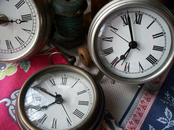 large pocket watch style clocks - set of three