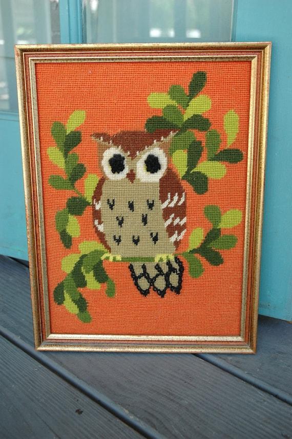 Vintage owl crochet wall art - orange