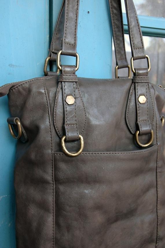 Grey leather purse - retro vintage bag or satchel
