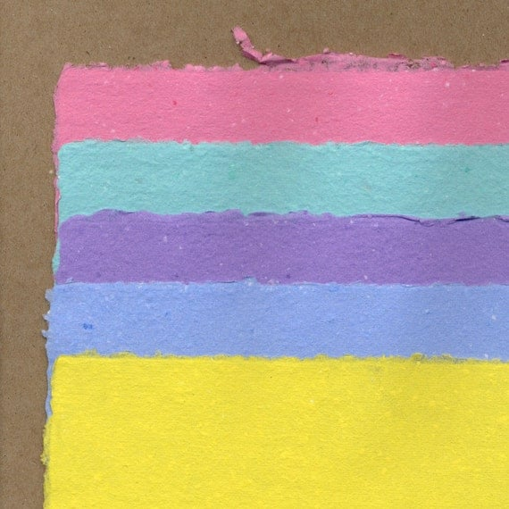 5 Sheets of Handmade Paper - Colour Variety - Easter