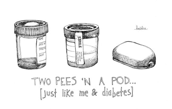 Two Pees 'n' a Pod - Pen & Ink Illustration