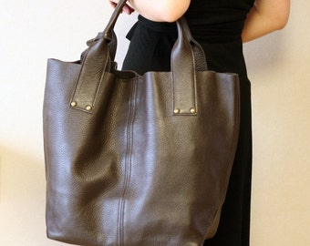 Supple Leather Large Tote Bag - Dark Brown