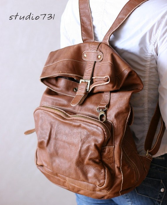 Very Supple Leather Square Shape Backpack - Tan Brown