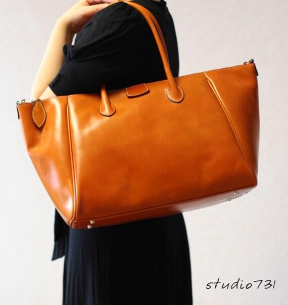 Elegant Formal Leather Shoulder Bag - Tan Brown