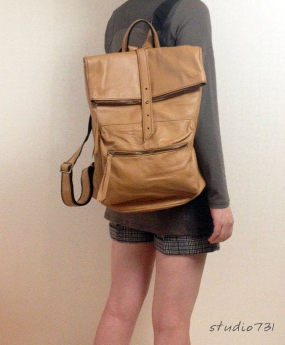 Square Shape Leather Backpack - Light Brown