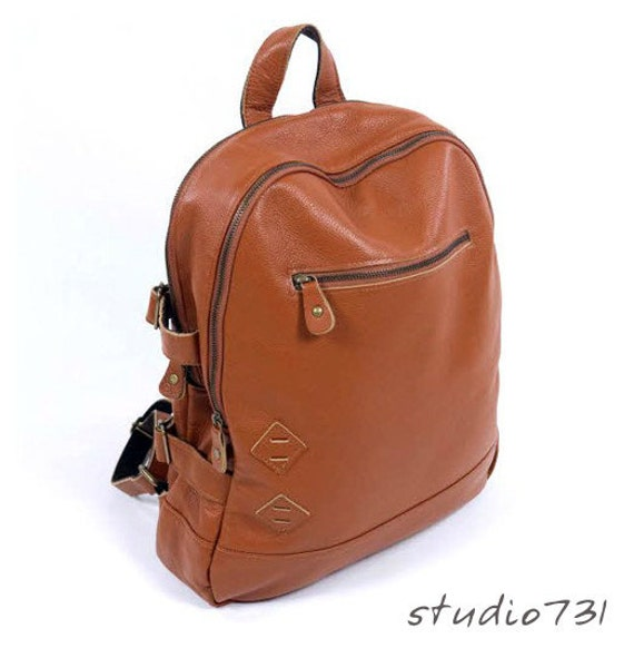 Multi-Pockets Leather Backpack - Tan Brown