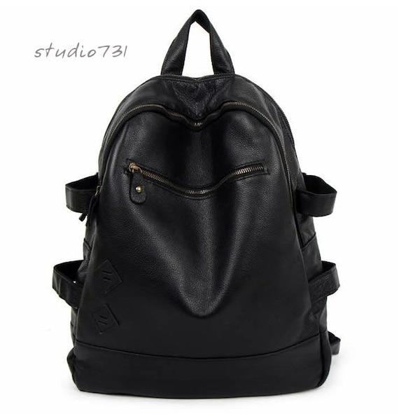 Multi-Pockets Leather Backpack - Black