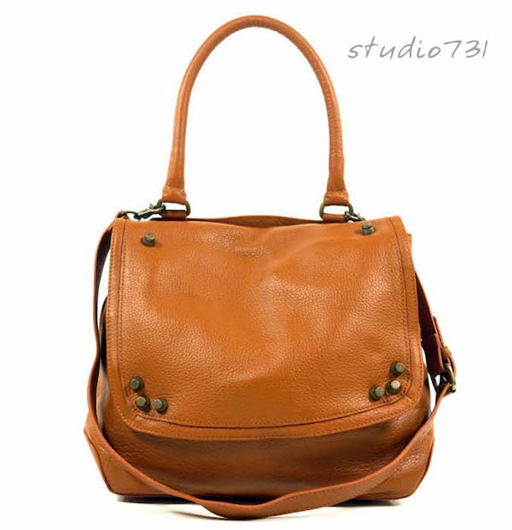 Very Supple Leather Shoulder / Messenger Bag - Tan Brown