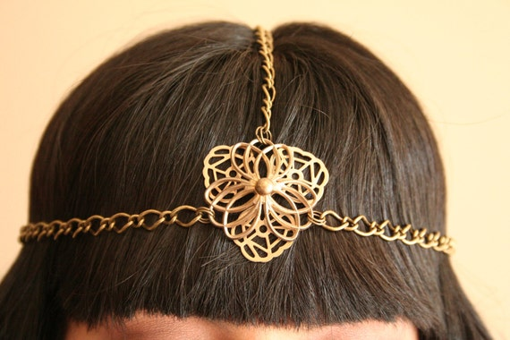 SALE: vintage flower pendant  halo headband in antique gold tone chain upcycled- boho- gypsy- cleopatra- grecian